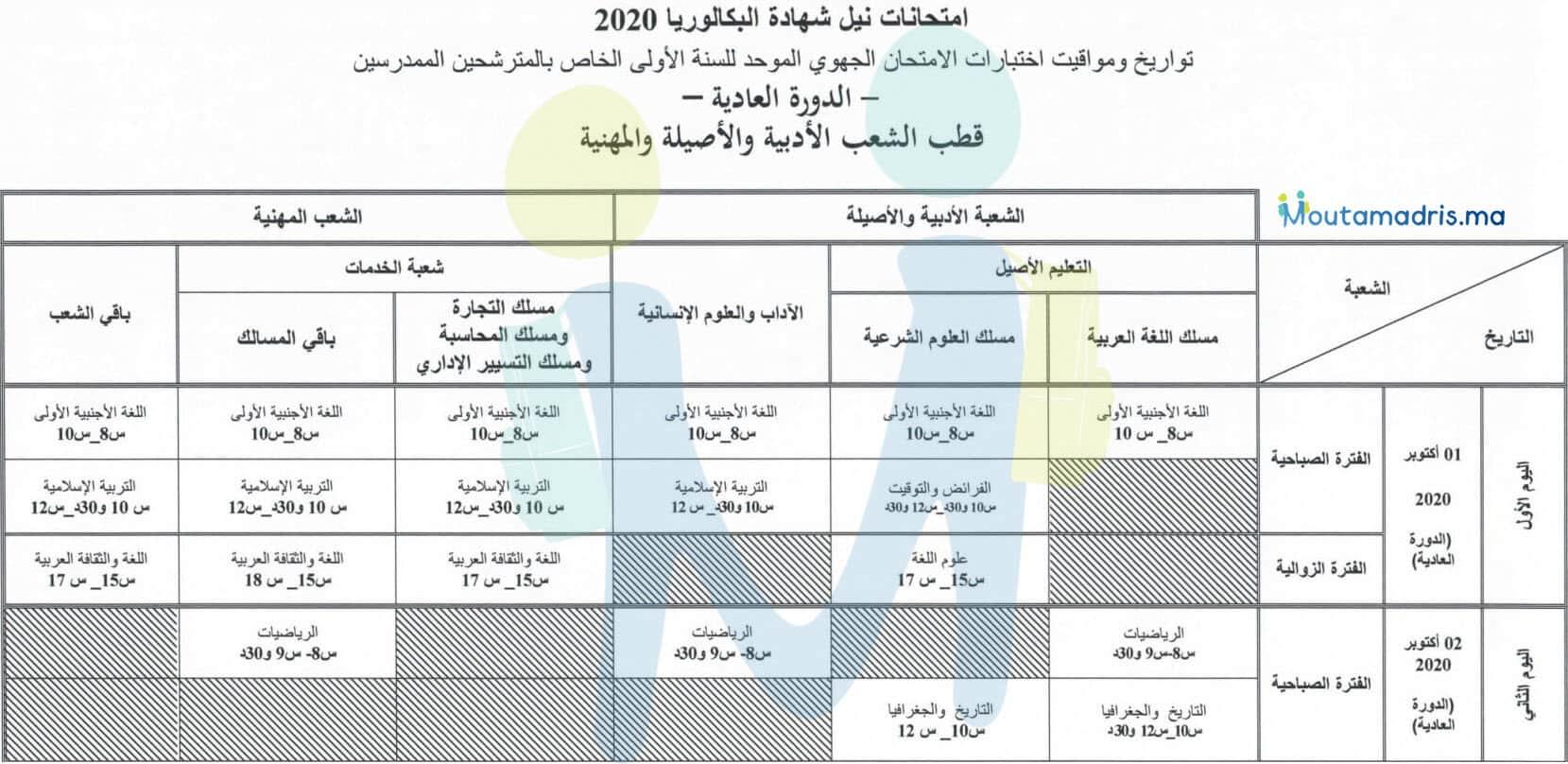 تاريخ اجتياز الامتحان الجهوي اولى باك 2020