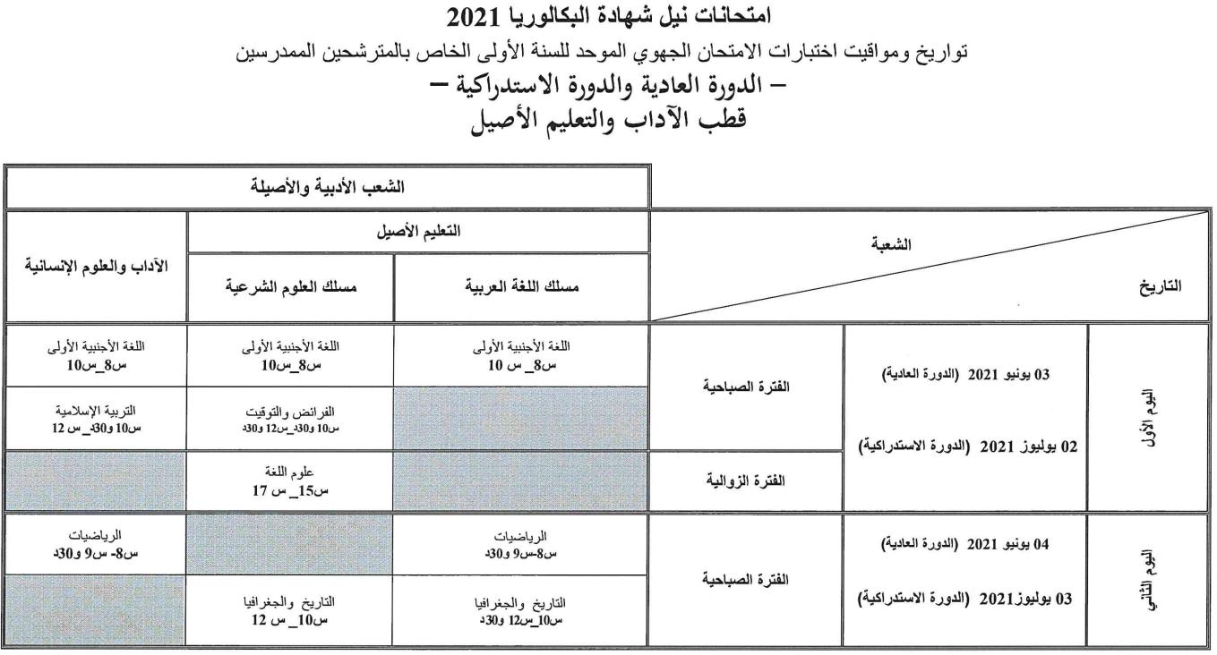 تاريخ اجتياز الامتحان الجهوي 2021 اولى باك