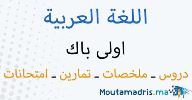 ملخصات دروس اللغة العربية اولى باك اداب وعلوم انسانية