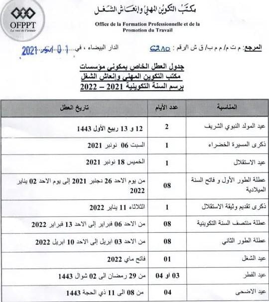 لائحة عطل التكوين المهني 2021-2022