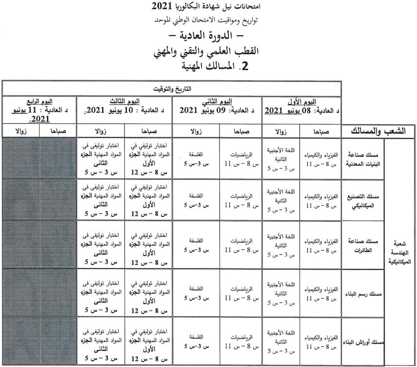 تاريخ اجتياز الامتحان الوطني