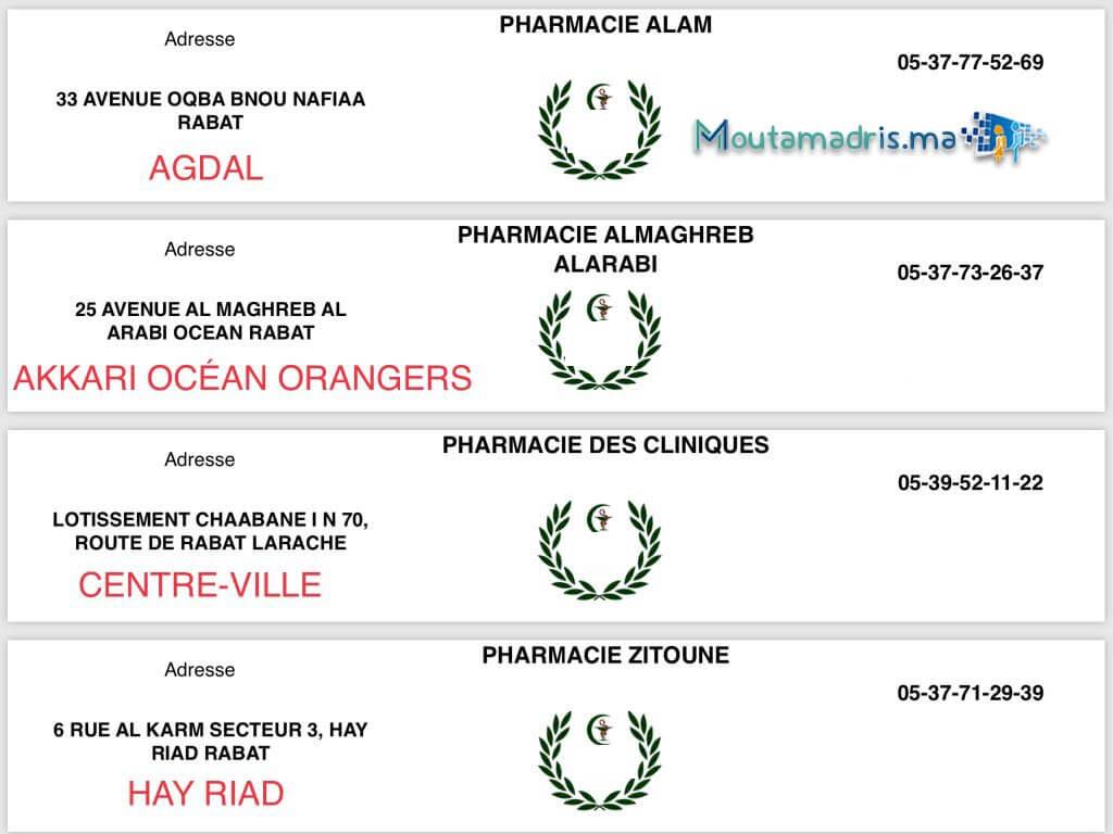 Pharmacie de garde Rabat