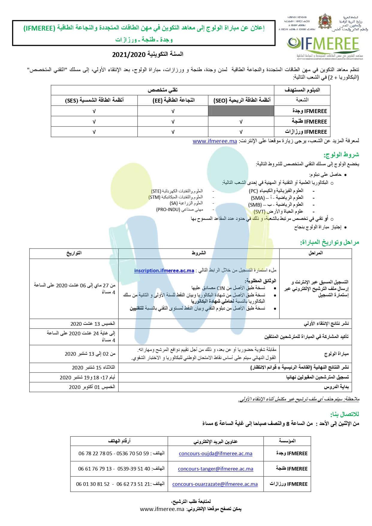 Inscription Concours IFMEREE 2020-2021