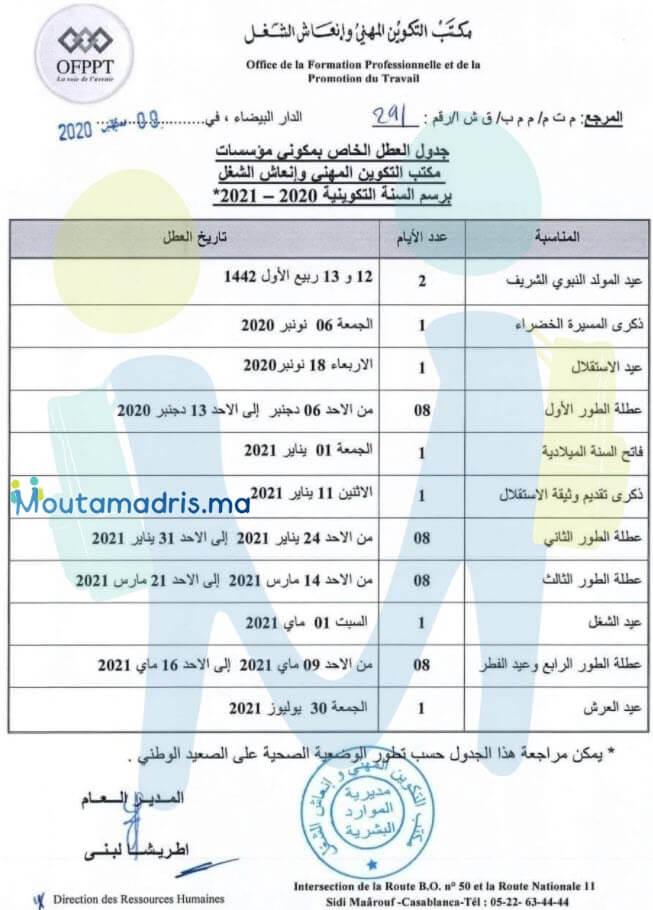 لائحة عطل التكوين المهني 2020-2021
