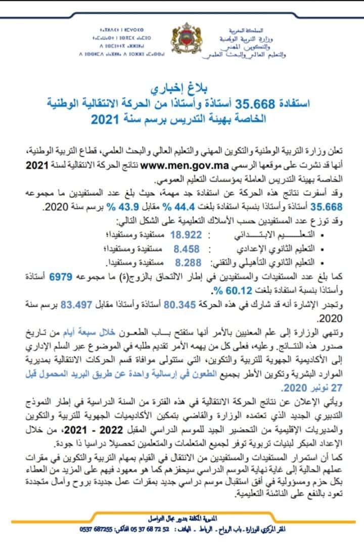 نتائج الحركة الانتقالية 2020-2021